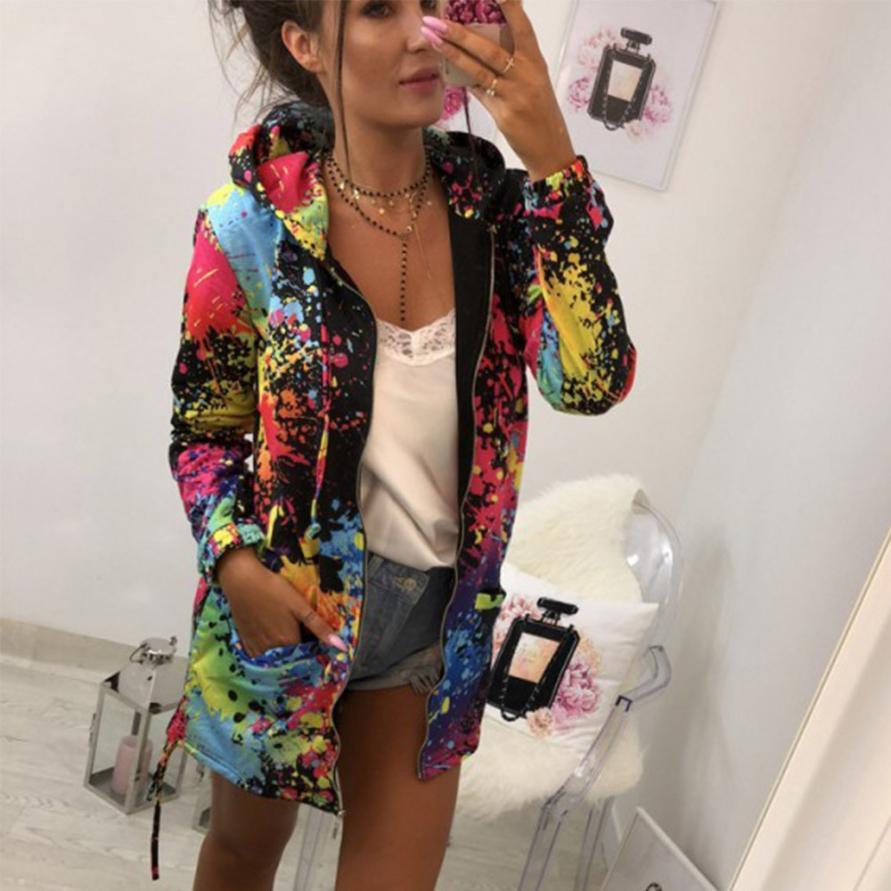 Prendas de Vestir exteriores chaquetas y abrigos moda Tie dyeing estampado Outwear Sudadera con capucha abrigo abrigos y chaquetas mujeres 2018AUG16