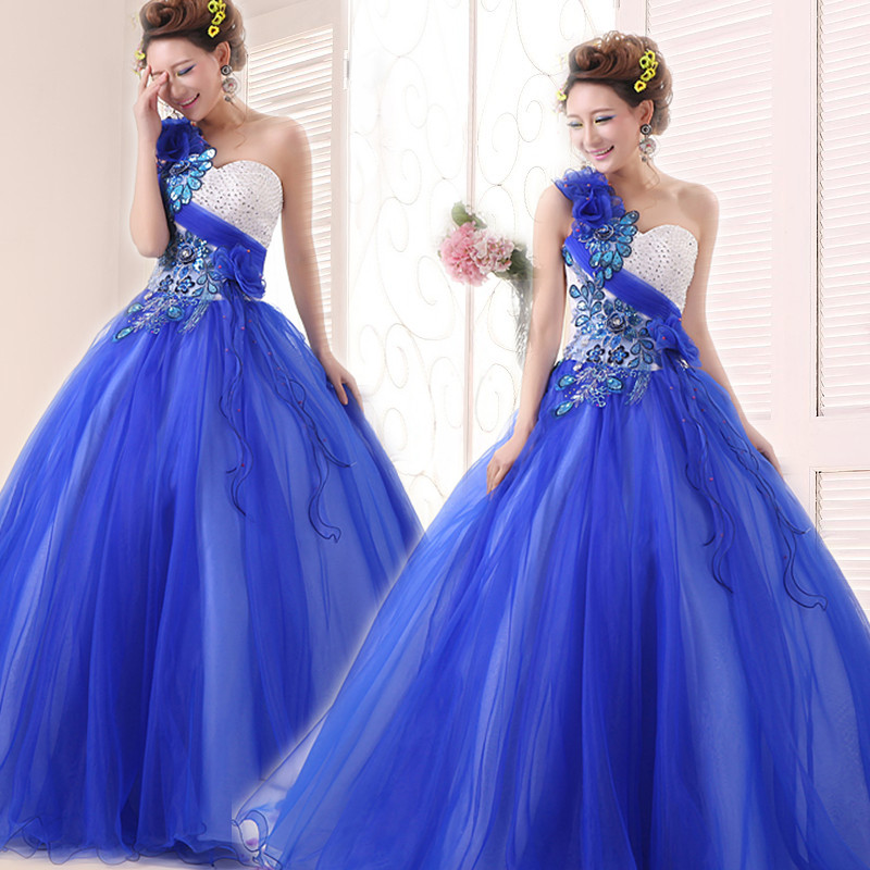 One Shoulder Girl Formal Elegant Appliques Handmade Flower Ball Gown Organza Long Blue Quinceanera Dress quinceanera
