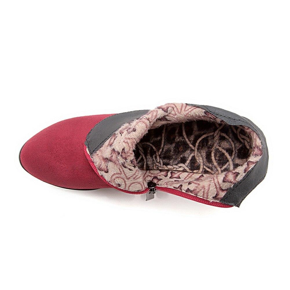 Haute Troupeau marron Automne Fourrure Sabot La Élégant rouge Taille 2019 Hiver Femme Cheville Talons Chaussures Noir 32 Plus Bonjomarisa 46 Bottes Femmes FxO6fRqc