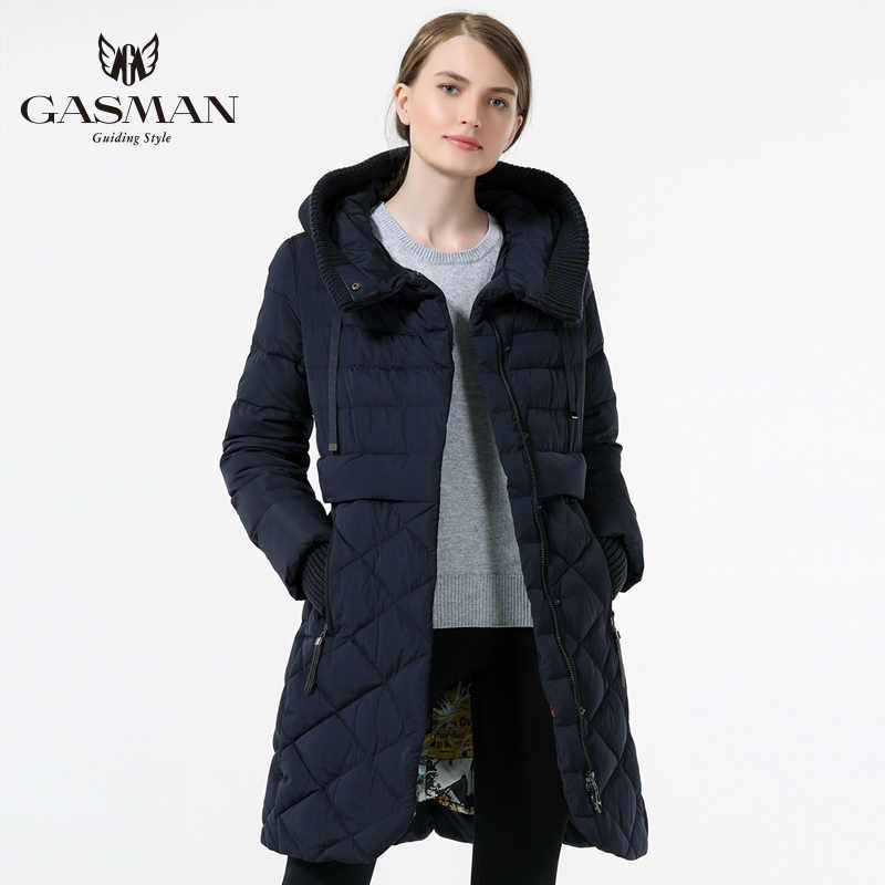 GASMAN 2019 Women's Hooded Warm Down Parka Female Overcoat Medium Length Slim Bio Down Thickening Down Jacket Brand Female Coat
