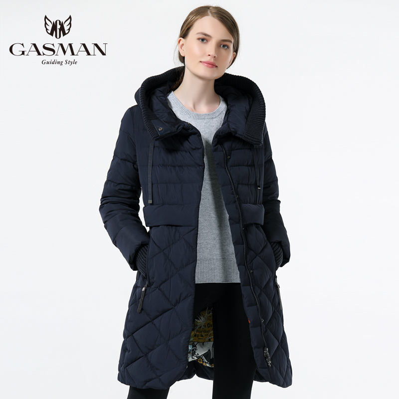 GASMAN 2018 Women's Hooded Warm Down Parka Female Overcoat Medium Length Slim Bio Down Thickening Down Jacket Brand Female Coat