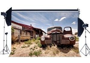Image 1 - Batı kovboy zemin eski araba arka planında bakkal nostalji ahşap ev mavi gökyüzü beyaz bulut rustik arka plan