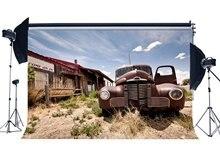 Western Cowboy toile de fond ancienne voiture décors épicerie nostalgie bois maison bleu ciel blanc nuage rustique fond
