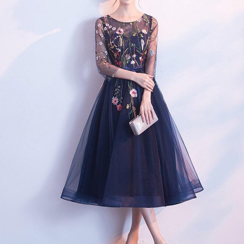 KISBINI nouvelles femmes dîner soirée robe de soirée o-cou broderie fleur maille ruban arc douce robe de bal pour mariage de demoiselle d'honneur