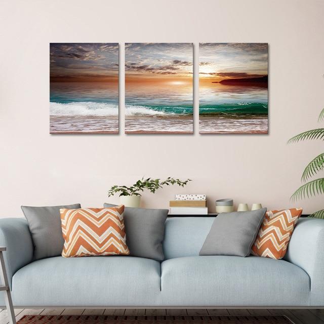 3d Scenic Beach Paint Frameless Bedroom Living Room Background Wall