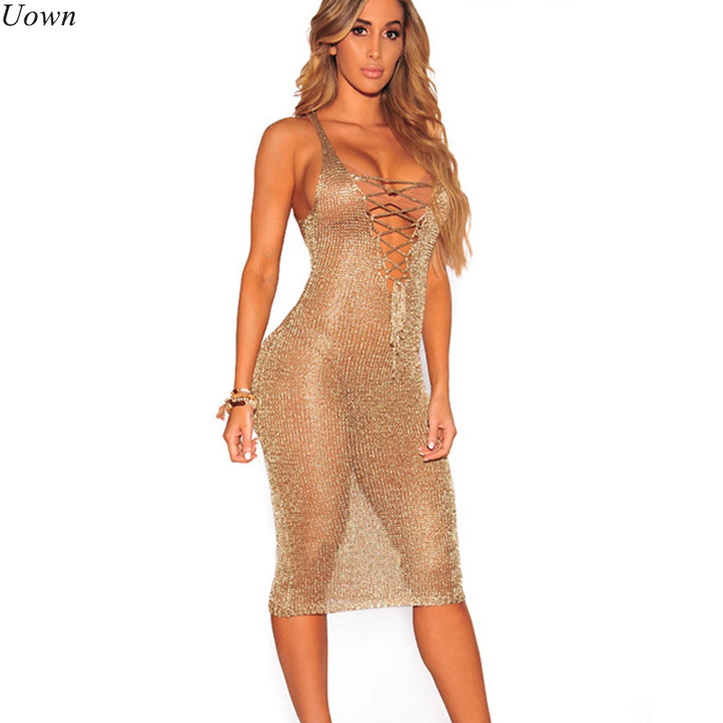 Sexy Lace Up Tunic Gold Crochet Beach Dress Women Hollow Out Sleeveless Deep V Neck Tank Midi Summer Dresses Clubwear Sundress