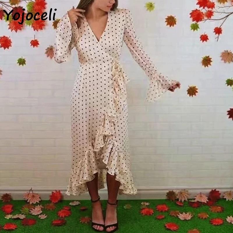 Yojoceli style romantique chaîne à volants robe femmes boho plage printemps été robe dot imprimé fil d'or femmes vestidos