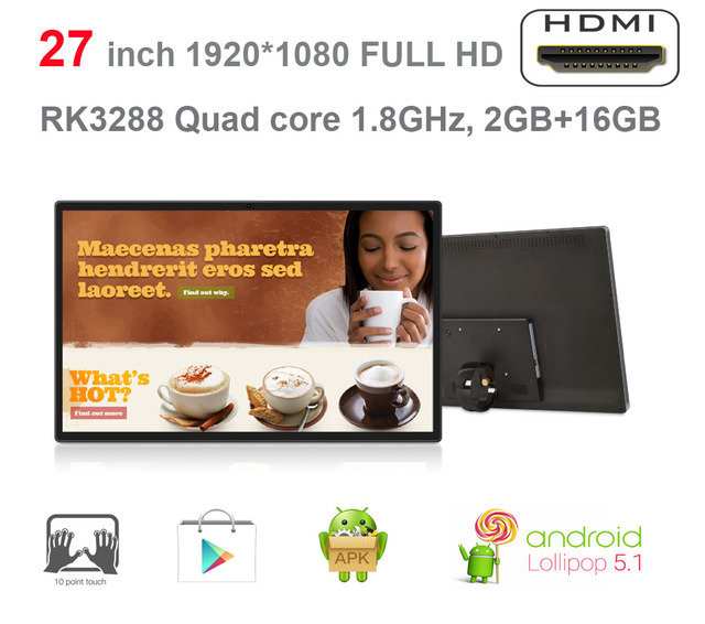 Updated 27 inch Android smart TV-KIOSK-advertising player all in one (RK3288,quad core CortexA17 2GB DDR3, 16GB nand flash,VESA)