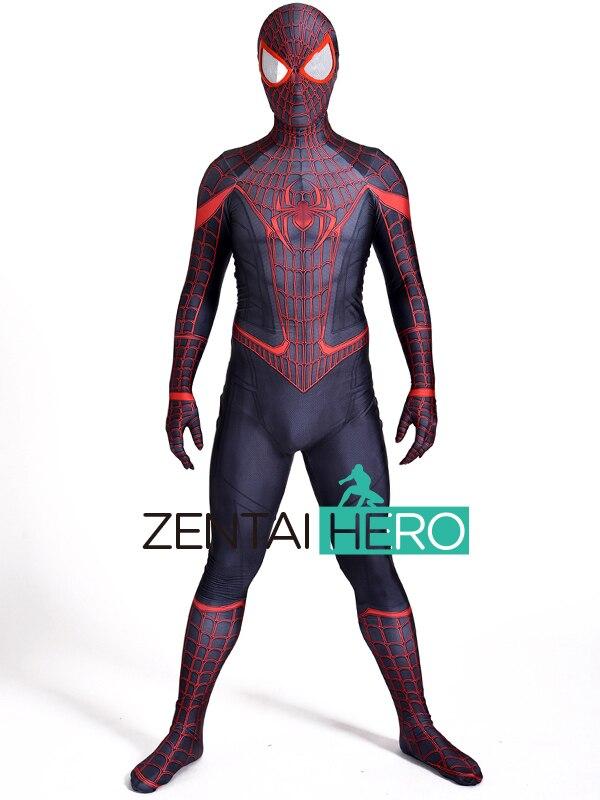 3D Stampato Stunning Miles Morales Spiderman Cosplay Costume di Lycra Miles Morales Spider-Man Superhero Costume Per La Festa di Halloween