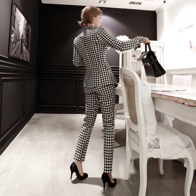Set female 2018 autumn and winter new temperament fashion plaid small suit jacket + feet pants elegant casual two-piece women's