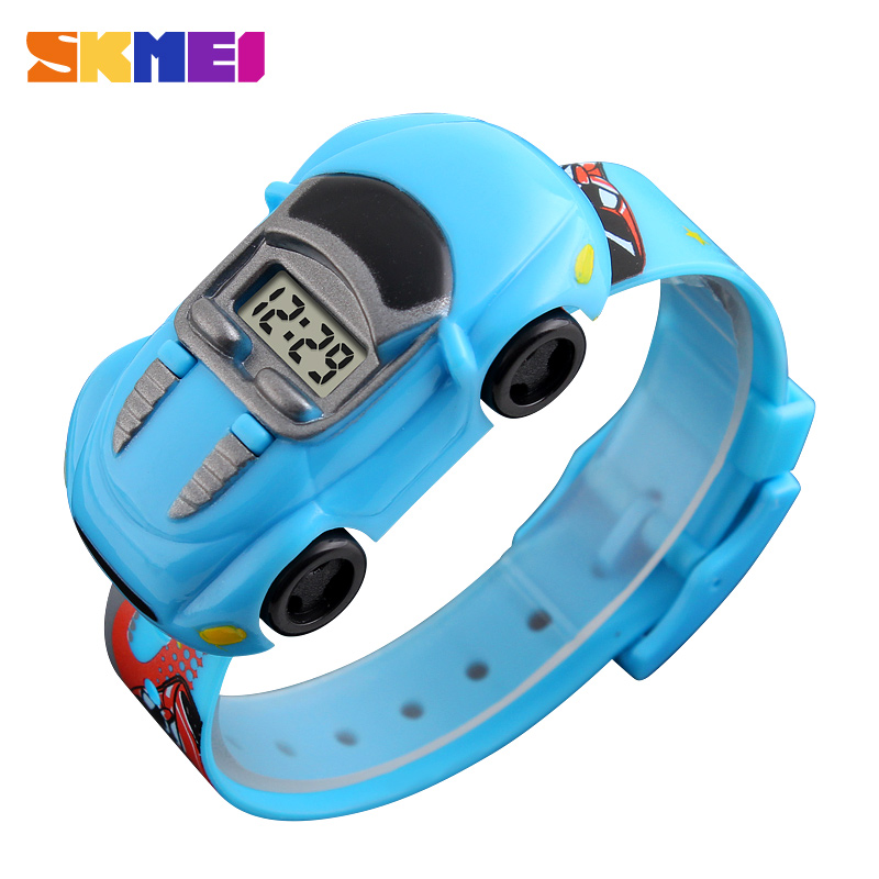 SKMEI Cartoon Digital Watches Kids Fashion Car Black Outdoor Complete Calendar Wristwatches For Boys Student Casual Watch 1241