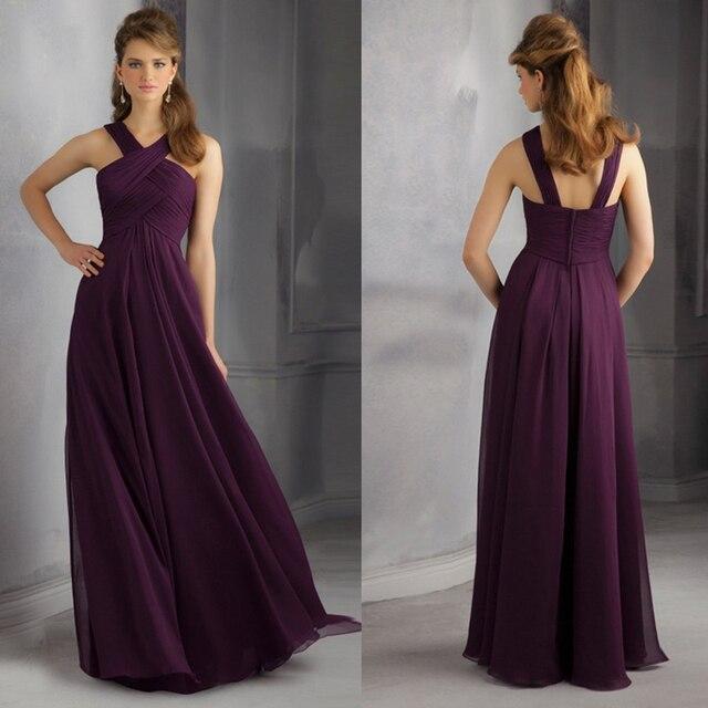 2014 Loveable V Neck Sleeveless Pleats Details Chiffon Plum Bridesmaid  Dresses Long Free Shipping b7b177715c86