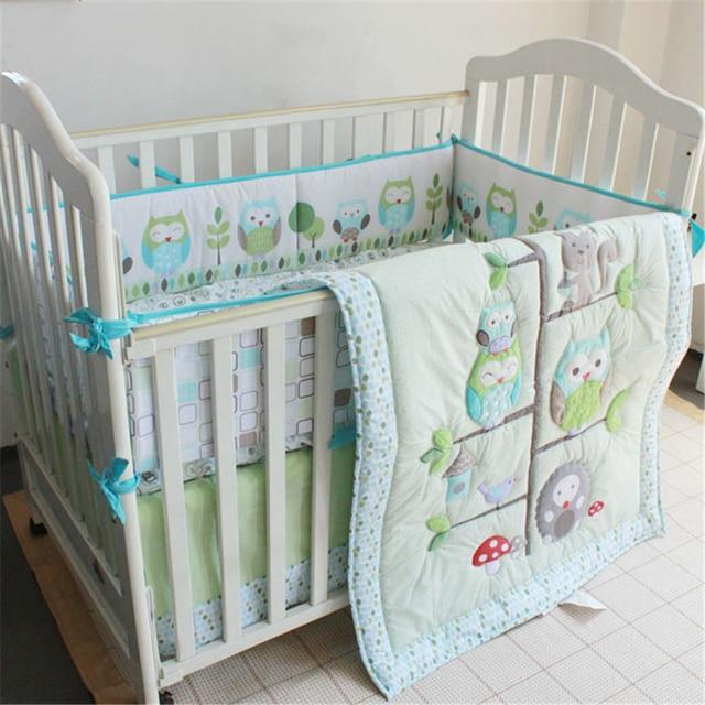Moonpalace Green Owl Tree Baby Crib Nursery Bedding Set Baby Boy Girl Nature Bedding 4pc Crib Set Quilt Bumper Fitted Sheet
