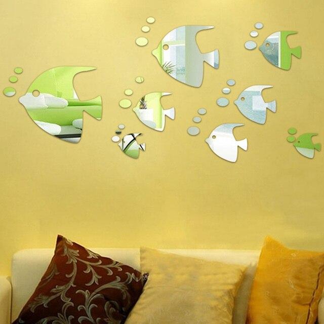 3D Mirror Sticker Fish Bubble Decal Art Wall Sticker Home Modern ...