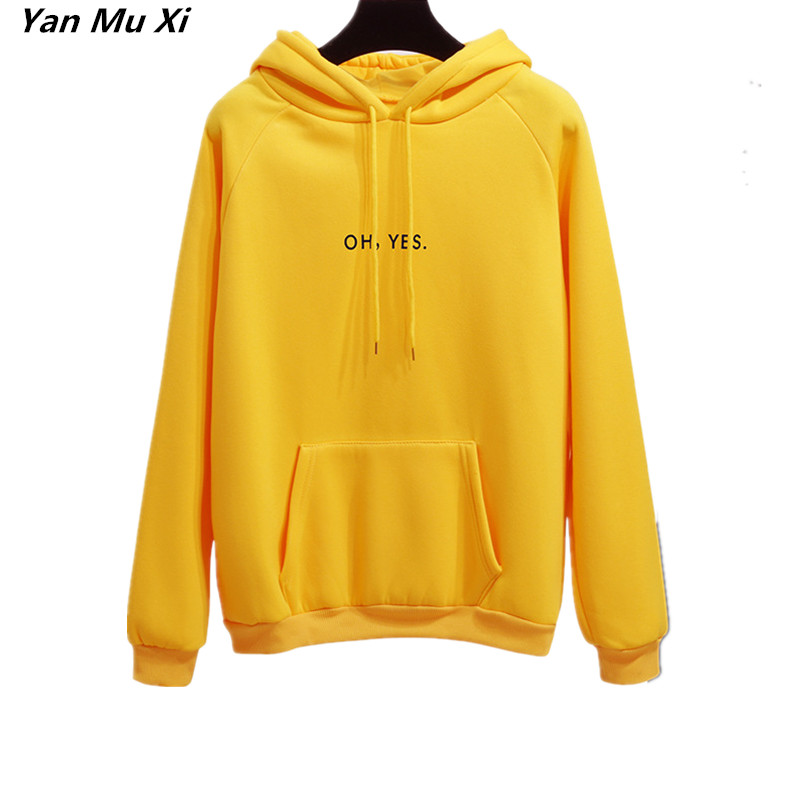 2018 New Fashion Corduroy Long Sleeves Letter Harajuku Print Girl Yellow Pullovers Tops O-neck Woman Hoodies Sweatshirts Coat