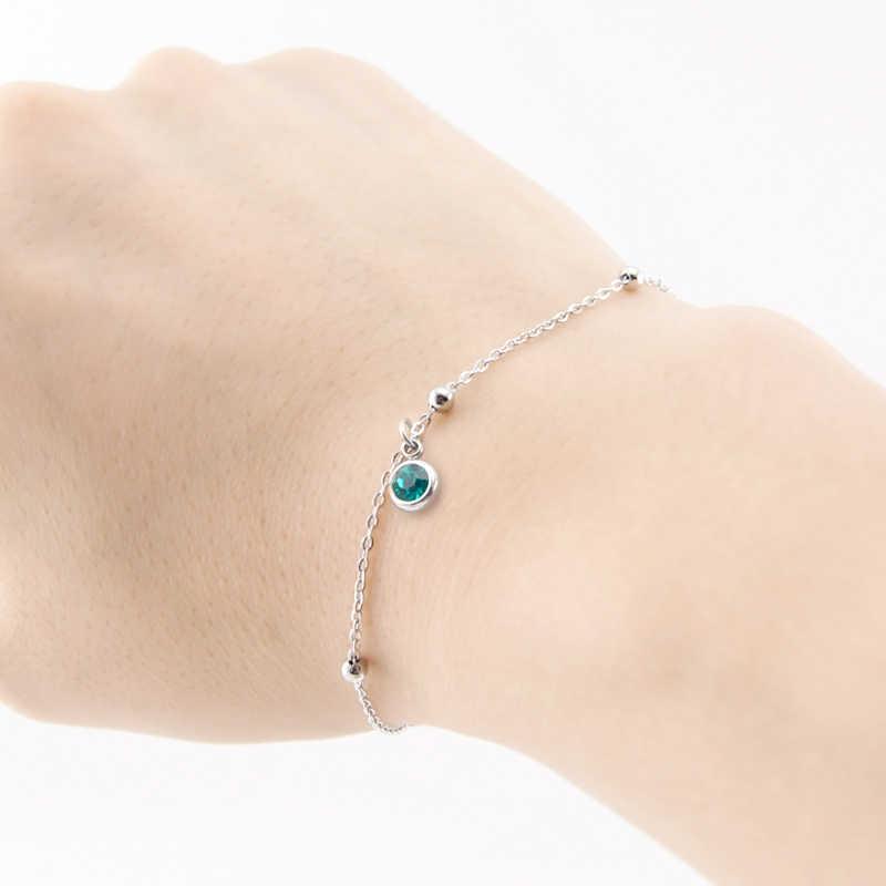 Камень браслеты для женщин 1,2 мм Тонкий браслет пространство мяч Роло кабель цепи повезло ювелирных камней браслет из нержавеющей стали