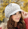 2016 New Female Korean Tidal Knit Wool Cap Plus Velvet High-quality Rabbit Hair Fashion Warm Hat Autumn and Winter Hat Ear Benn