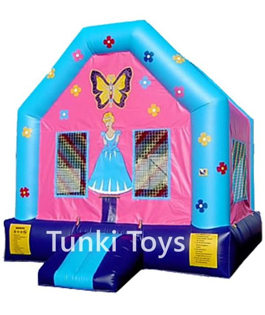 inflatable pink doll bouncy house