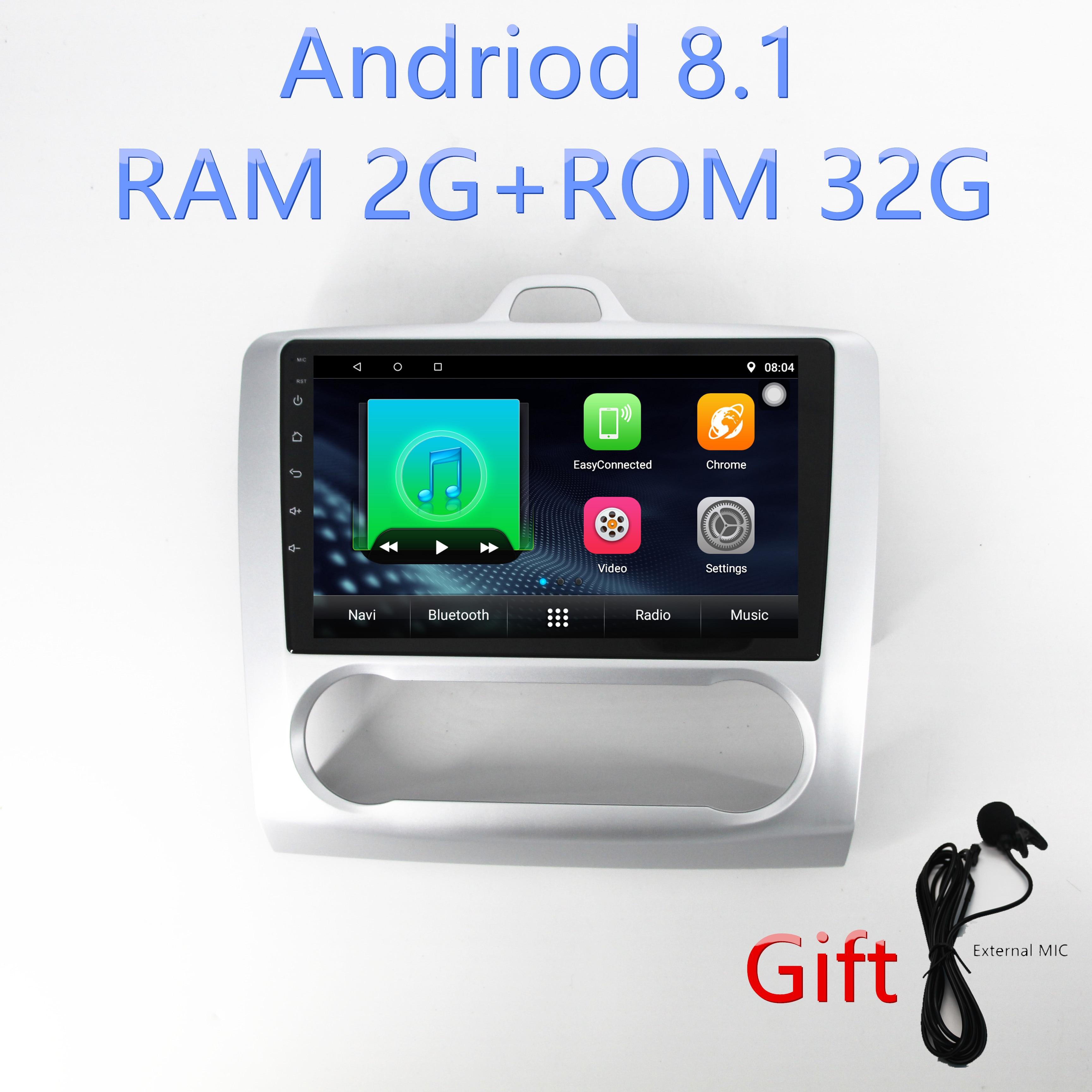 1din Android8.1 autoradio gps navigation pour Ford Focus Exi à 2004 2005 2006 2007 2008 2009 2010 2011 lecteur multimédia