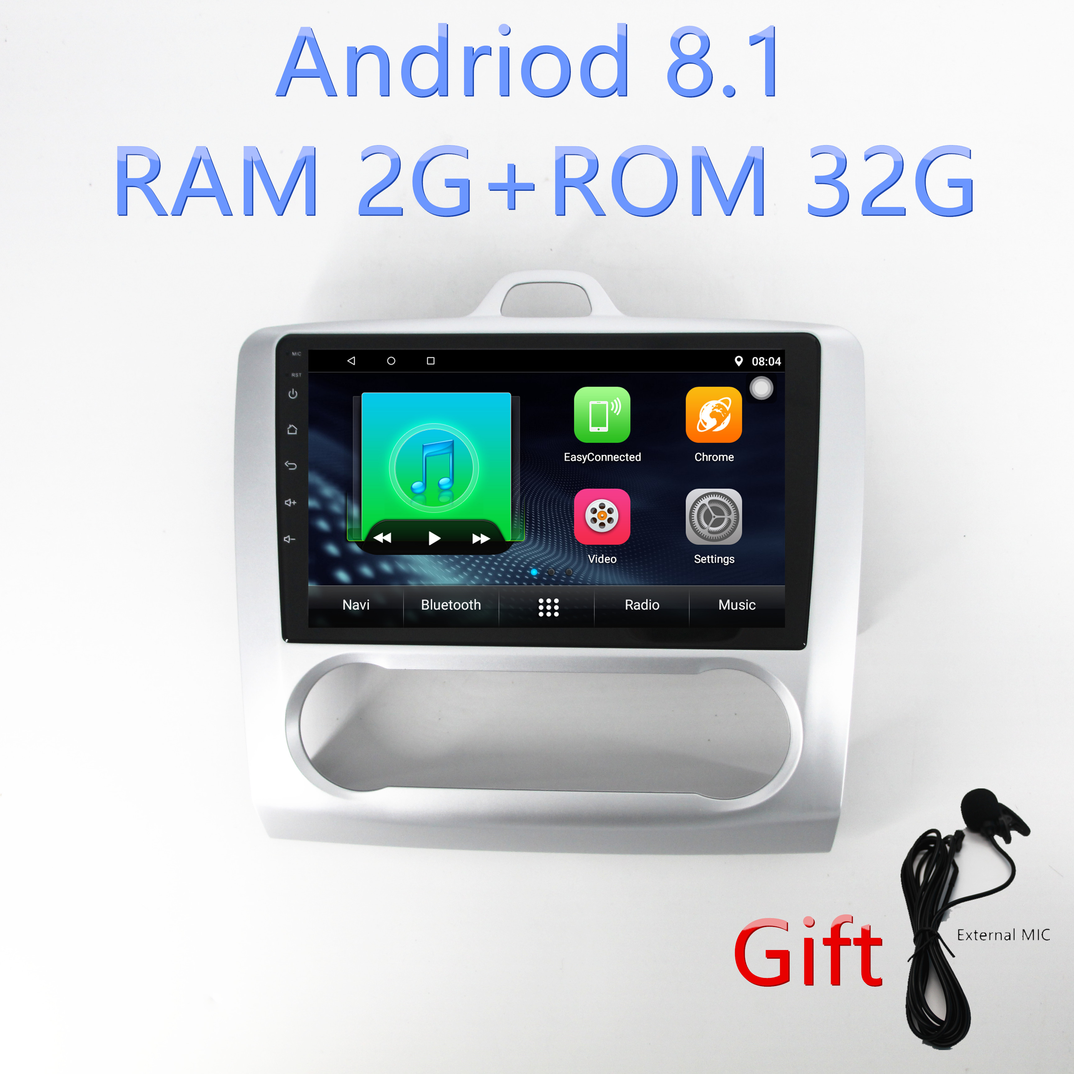 1din Android8.1 car radio gps navigation for Ford Focus Exi AT 2004 2005 2006 2007 2008 2009 2010 2011 multimedia player
