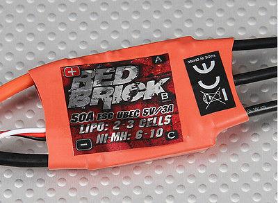 2 ~ 3 S 50A Vermelho Tijolo Brushless Controlador de Velocidade ESC Ubec 5 v/3A para o Plano DO RC Heli