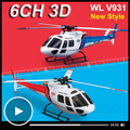 Wltoys WL V931 6CH 3D RC helicóptero com Motor Brushless Flybarless 6 eixos Gyro 3 lâmina AS350 Scale pequeno esquilo