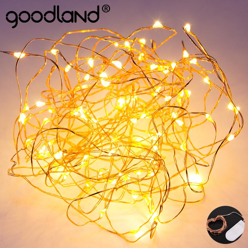 Goodland LED String Lights Waterproof Copper Wire Fairy Lights Holiday Garland Battery Powered For Wedding Gerlyanda Decoration