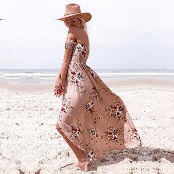 ELSVIOS 2018 New Boho Style Off Shoulder Women Long Dress Beach Floral Print Summer Dress Chiffon Slash Neck Maxi Dress XS-5XL 3