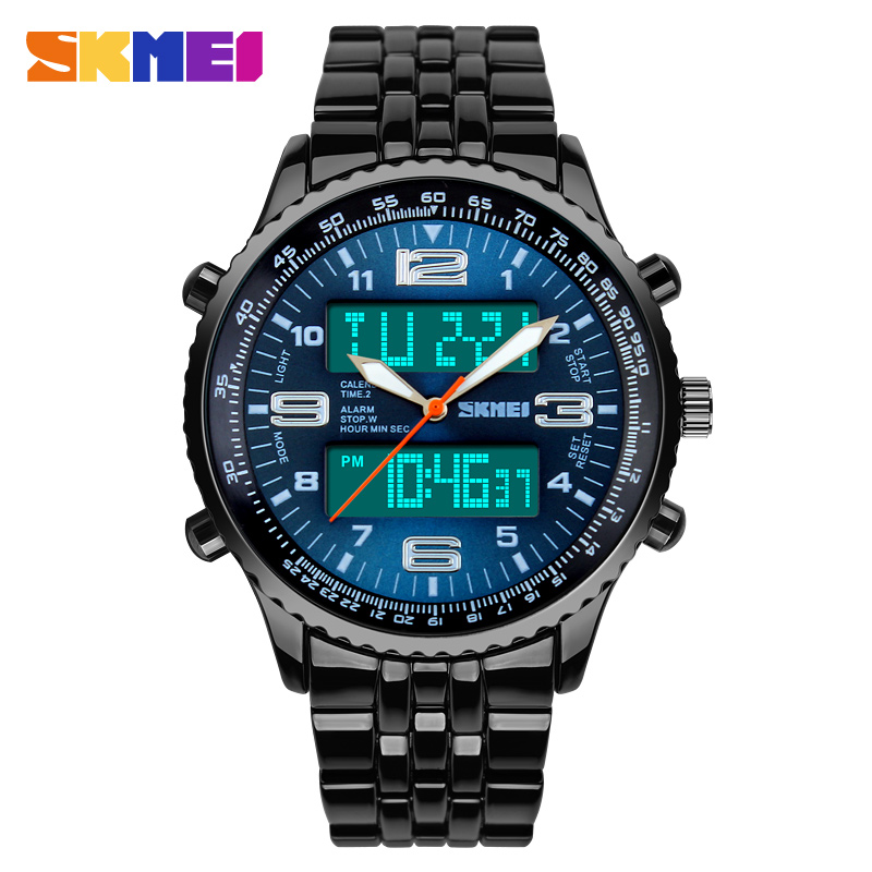 2018 New <font><b>SKMEI</b></font> Luxury Brand Men Military Watches Full Steel Men Sports Watches Digital LED Quartz Wristwatches relogio masculino image