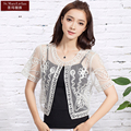 Hand Knitted 3 Colors  O-Neck Short Sleeve Crochet Shrug Chiffon Knitted Top Cardigan Plus Size Hot Sale Brand New Arrival 2016