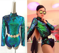 2015 Newest Style Female Singer DS Costumes DJ Bar Laser Ultra Long Sleeved Backless Green Sequined