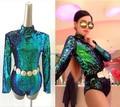 2016 Newest style female singer leotard DS costumes DJ bar laser ultra long-sleeved backless green sequined bodysuit jazz dance