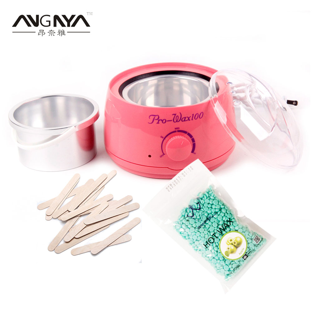 Hair Remover Salon Spa Hand Epilator Feet Paraffin Heater Wax Warmer +20*Disposable Bamboo Sticks+100g Hot Film Hard Wax Pell