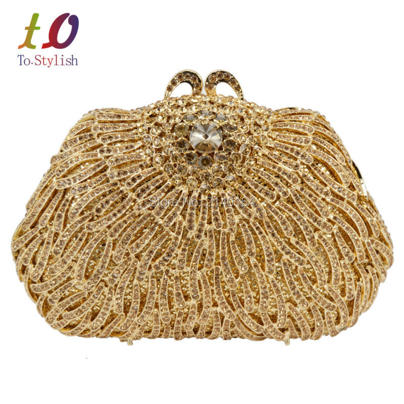 Gold Luxury Party Bag Crystal Evening Prom purse Candy Lovely Bling Ladies Soiree Banquet Clutch Bag for Women Wedding Bag 88585