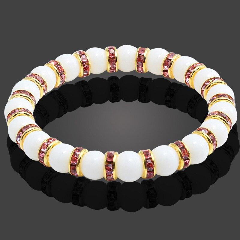 Image 3 - 11 Style Natural Stone Chakra Elastic Bracelet Men White  Porcelain Healing Balance Beads Reiki Buddha Prayer Bracelet For  WomenStrand Bracelets