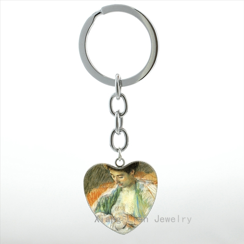 2016 New Mother Nursing her Baby keychain Breast Feeding keyring vintage Mother and Child key chain ring best moms gift HP443