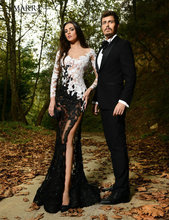 2015 Sexy Rami Salamoun Full Lace Evening Dresses V-Neck Long Sleeve Prom Gowns Elegant Side Slit Party XXY262