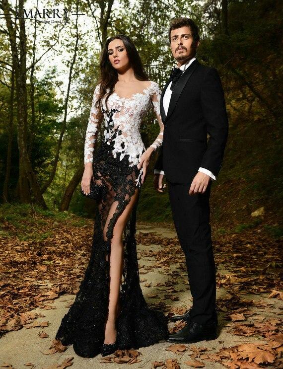 2015 Sexy Rami Salamoun pleine dentelle robes de soirée col en v à manches longues robes de bal élégant côté fente longues robes de soirée XXY262
