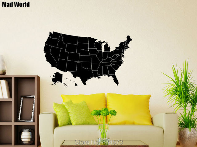 Mad World American United States Map Silhouette Wall Art Stickers ...