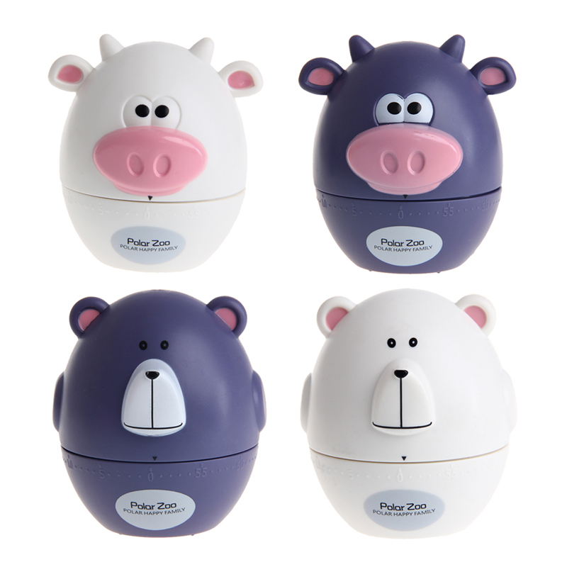 Kitchen Timers Cute Cow Bear Shape Mechanical Wind Up 60 ...