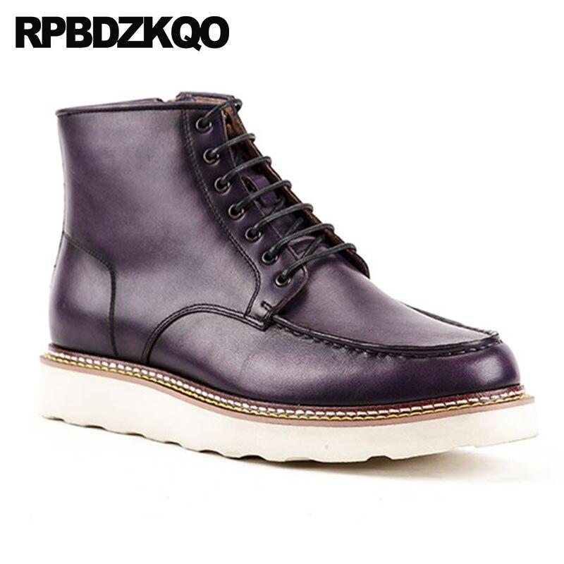 marrón Purple Militar Hombre Invierno Lujo Completo Botas Combate Grano Ejército Otoño De Negocios Genuino Blue Cremallera Para Cuero Zapatos Del Piel qaR1wnH