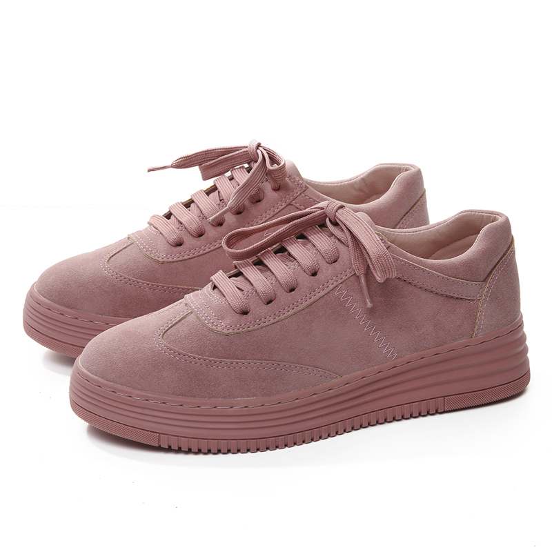 2018 Flat Women Shoes Women Sneakers Fashion Pink Shoes For Women Lace Up White Shoes Creepers Platform Mujer Shoes SIZE 35-43