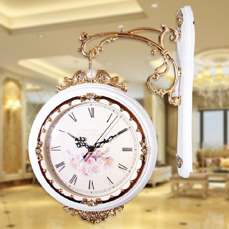 Double sided Clock Reloj Vintage home decor Duvar Saati Horloge Murale ...