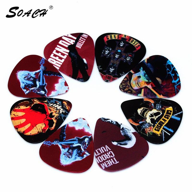 SOACH 10pcs/Lot 1.0mm Thickness Guitar Strap Guitar Parts Selling Guitar Devil Skull Head Skeleton Guitar Picks.