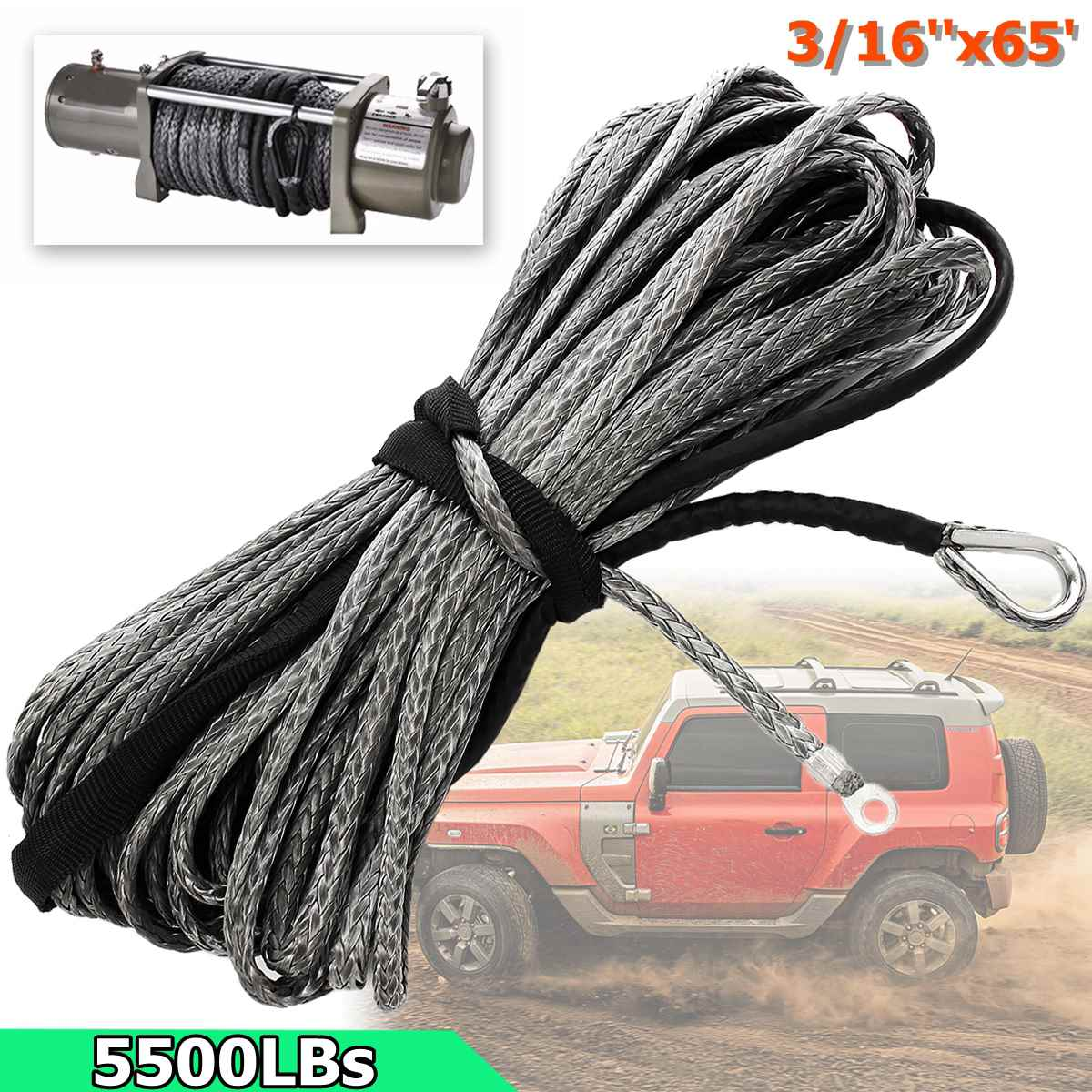 3/16 x 50' Synthetic Fiber Winch Line Cable Rope 5500 LBs Sheath ATV UTV Offorad 5mm*19.5m Gray Synthetic mitomycin alkaloids synthetic studies