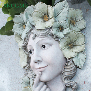 Western Goddess Hanging Resin Wall Vase Crafts Wall Flower Pot Home Outdoor Smile Girl Character Fairy Garden Planters Ornament(China)