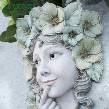 Western Goddess Hanging Resin Wall Vase Crafts Flower Pot Home Outdoor Smile Girl Character Fairy Garden Planters Ornament