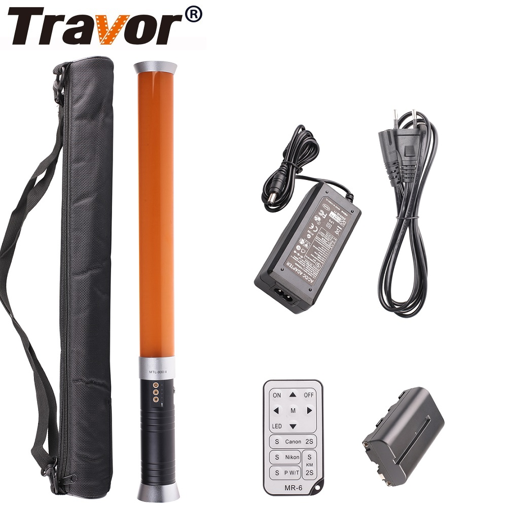 лучшая цена Travor Portable Handheld Tube LED Video Light Dimmable Bi-color 3200K/5600K Photographic Lighting with Remote Control