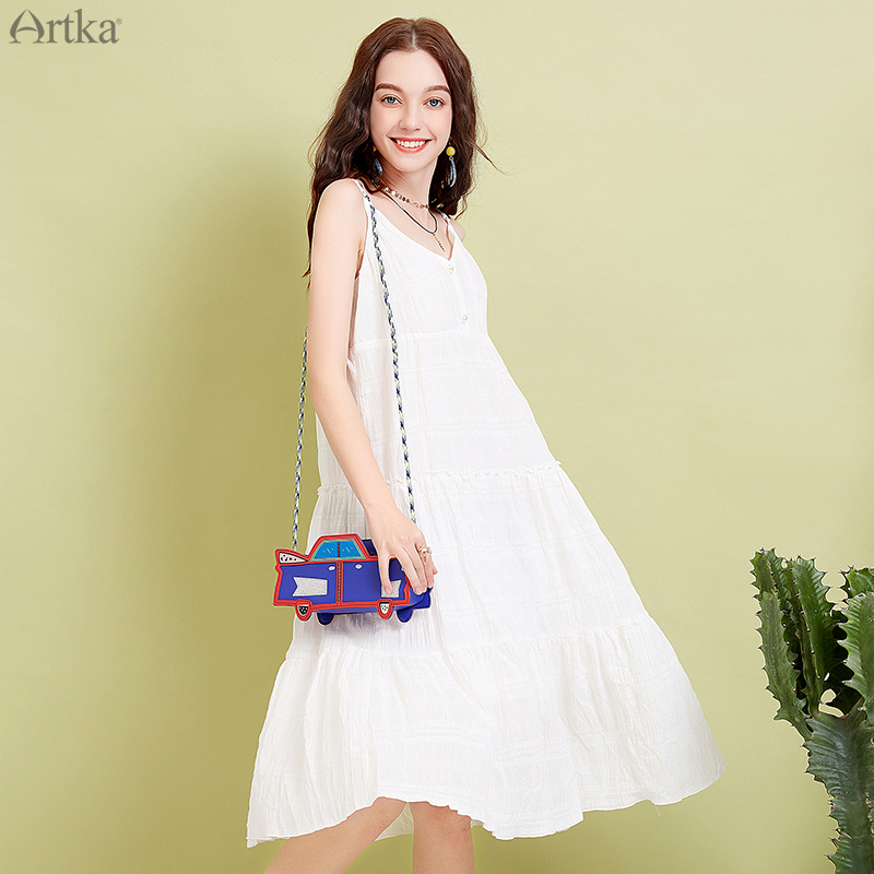 ARTKA 2019 Summer Women 100 Cotton Sleeveless Dress Casual Solid White Color A line Dress For
