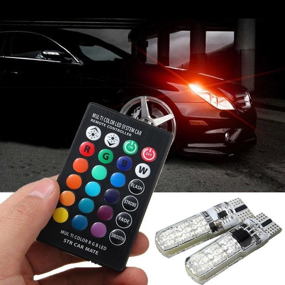 Auto Accessories LED T10 W5W RGB ABS Car Sticker Remote Control Multiple Colors For Skoda Octavia Mazda 3 Peugeot 206 Golf 4